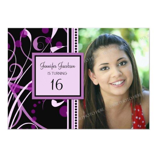 Purple Photo 16th Birthday Party Invitations