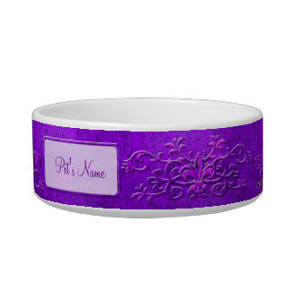 Purple Photo and Name Earthen Fancy Pottery Pet Water Bowl