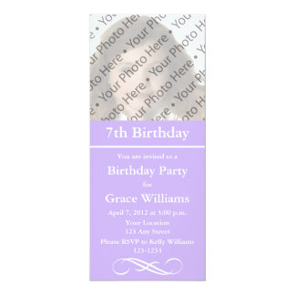 Purple Photo Birthday Invitations or Other Events