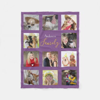 PURPLE Photo Blanket Collage Instagram Gold