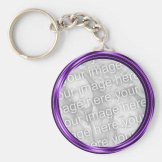 purple  photo frame basic round button keychain
