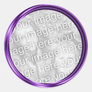 purple photo frame classic round sticker
