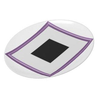 Purple Photo Frame Layout Melamine Plate