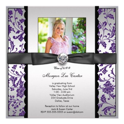 Purple Photo Graduation Announcement