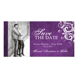 Purple Photo Save The Date Invitation Photo Card Template