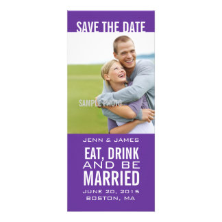 Purple Photo Save the Dates EAT DRINK BE MARRIED Personalized Announcement