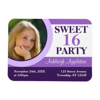Purple Photo Sweet 16 Party Invitation Flat Magnet