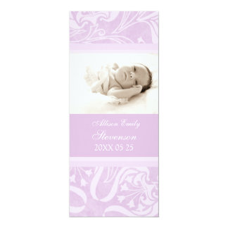 "Purple Photo Template New Baby Birth Announcement 4"" X 9.25"" Invitation Card"