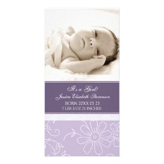 Purple Photo Template New Baby Birth Announcement Photo Greeting Card