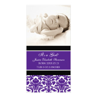 Purple Photo Template New Baby Birth Announcement Photo Card Template
