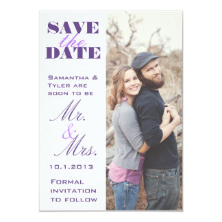 Purple Photo Wedding Save the Date Card
