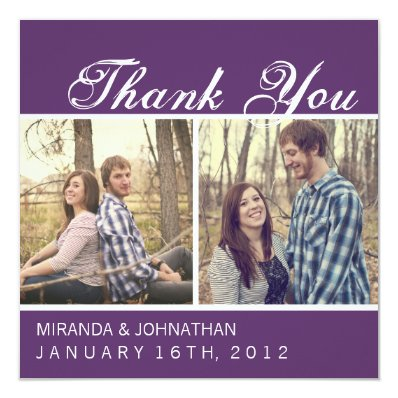 Purple Photo Wedding Thank You Cards
