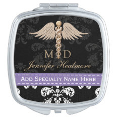 Purple Physician Doctor Md Caduceus Compact Mirror at Zazzle