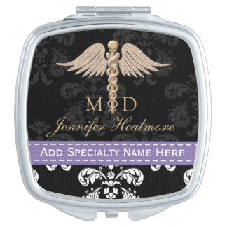 PURPLE PHYSICIAN DOCTOR MD CADUCEUS COMPACT MIRROR