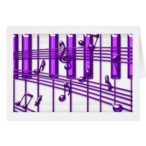 Purple Piano Keyboard Music Notes Greeting Card