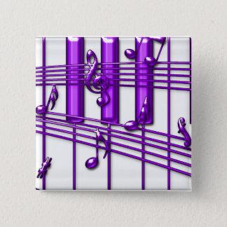 Purple Piano Keyboard Music Notes Pinback Button