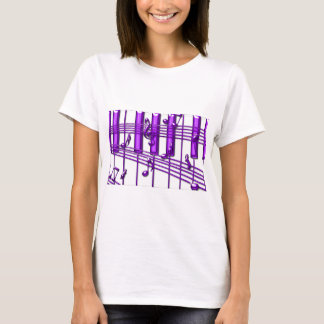 Purple Piano Keyboard Music Notes T-Shirt