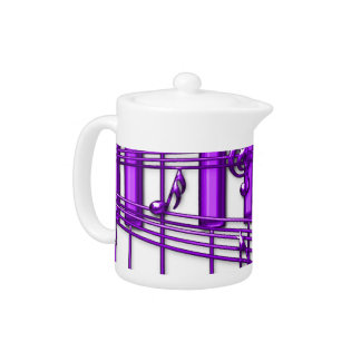 Purple Piano Keyboard With Notes Teapot