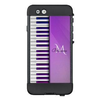 Purple Piano Music Monogram LifeProof iPhone Case