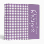 Purple Picnic Gingham Personalized Recipe 3 Ring Binders