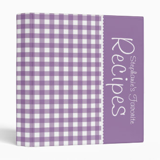 Purple Picnic Gingham Personalized Recipe Binder