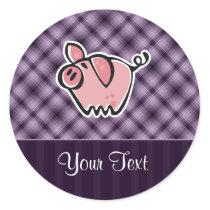 Purple Pig Classic Round Sticker