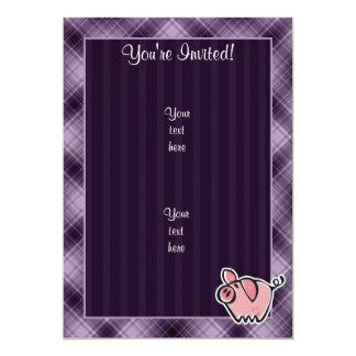 Purple Pig 5x7 Paper Invitation Card