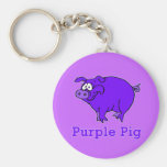 Purple Pig on Apparel, Mugs, Baby Shirts Basic Round Button Keychain