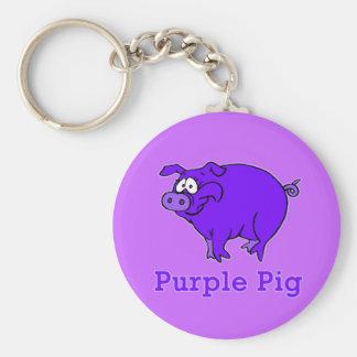 Purple Pig on Apparel, Mugs, Baby Shirts Basic Round Button Keychain