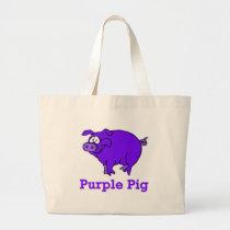 Purple Pig on Apparel, Mugs, Baby Shirts Large Tote Bag