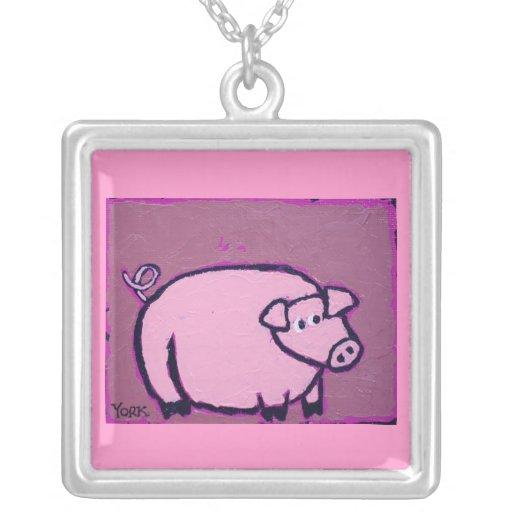 purple piggy necklace