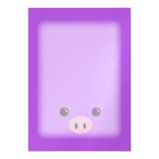 Purple Piglet Cute Animal Face Design Card