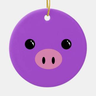 Purple Piglet Cute Animal Face Design Ceramic Ornament
