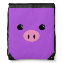 Purple Piglet Cute Animal Face Design Drawstring Backpack