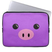 Purple Piglet Cute Animal Face Design Laptop Sleeve