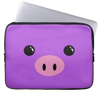 Purple Piglet Cute Animal Face Design Laptop Sleeves