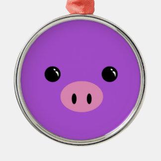 Purple Piglet Cute Animal Face Design Metal Ornament