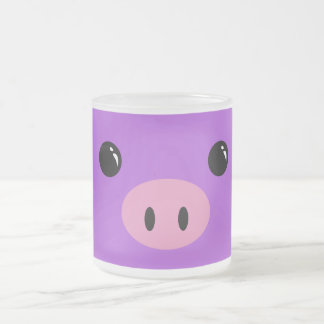 Purple Piglet Cute Animal Face Design 10 Oz Frosted Glass Coffee Mug