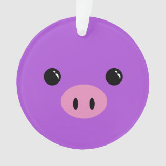 Purple Piglet Cute Animal Face Design Ornament