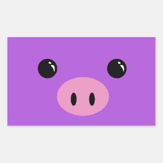 Purple Piglet Cute Animal Face Design Rectangular Sticker
