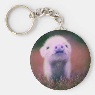 Purple Pigsy Basic Round Button Keychain