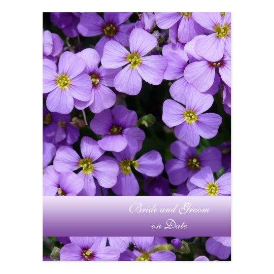 Purple Pillow Flowers Save the date card