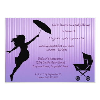 Purple Pin-Striped Baby Shower Invitation