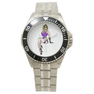 purple pin-up girl wrist watch