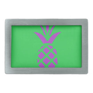 Purple pine apple in green. rectangular belt buckle
