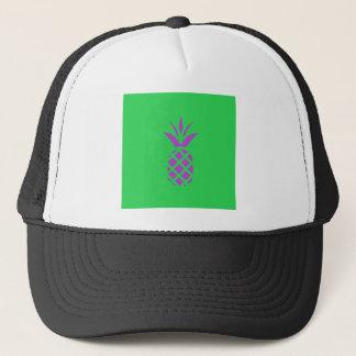 Purple pine apple in green. trucker hat