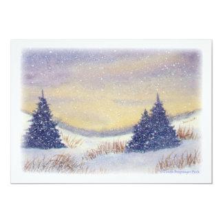 Purple Pine Trees Painting Card