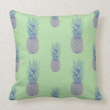 Beach Themed Purple Pineapples Throw Pillow