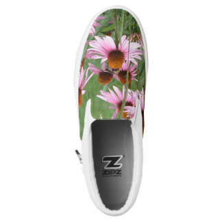 Purple Pinecone Flowers with Bees Slip-On Sneakers