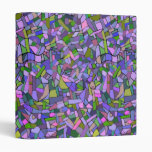 Purple Pink Abstract Mosaic Pattern 3 Ring Binder